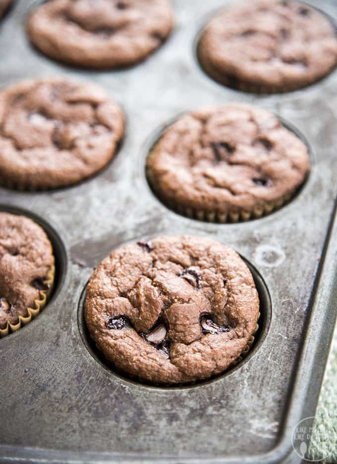 Chocolate banana muffins are made better for you in the blender with only a few ingredients, with no refined sugar, no white flour and no oil and are perfect for a delicious snack or breakfast!