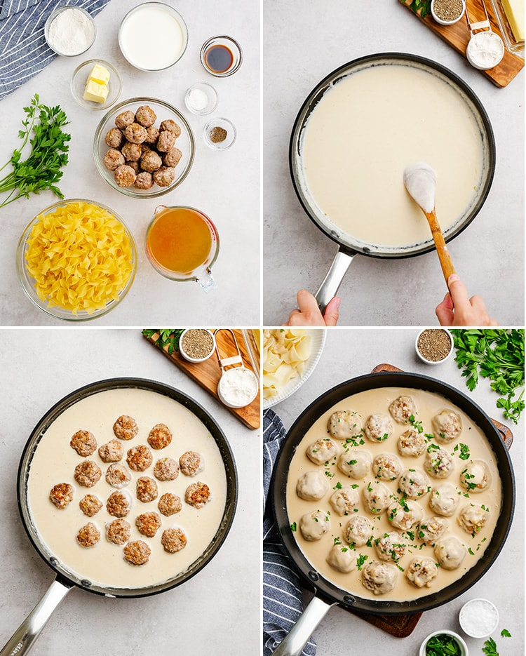 Step by step photos how to make swedish meatballs. The first photo shows all the ingredients in bowls, with egg noodles, meatballs, butter, beef broth, flour, and salt and pepper. Then the sauce is done in a pot, then the meatballs are added to the sauce.