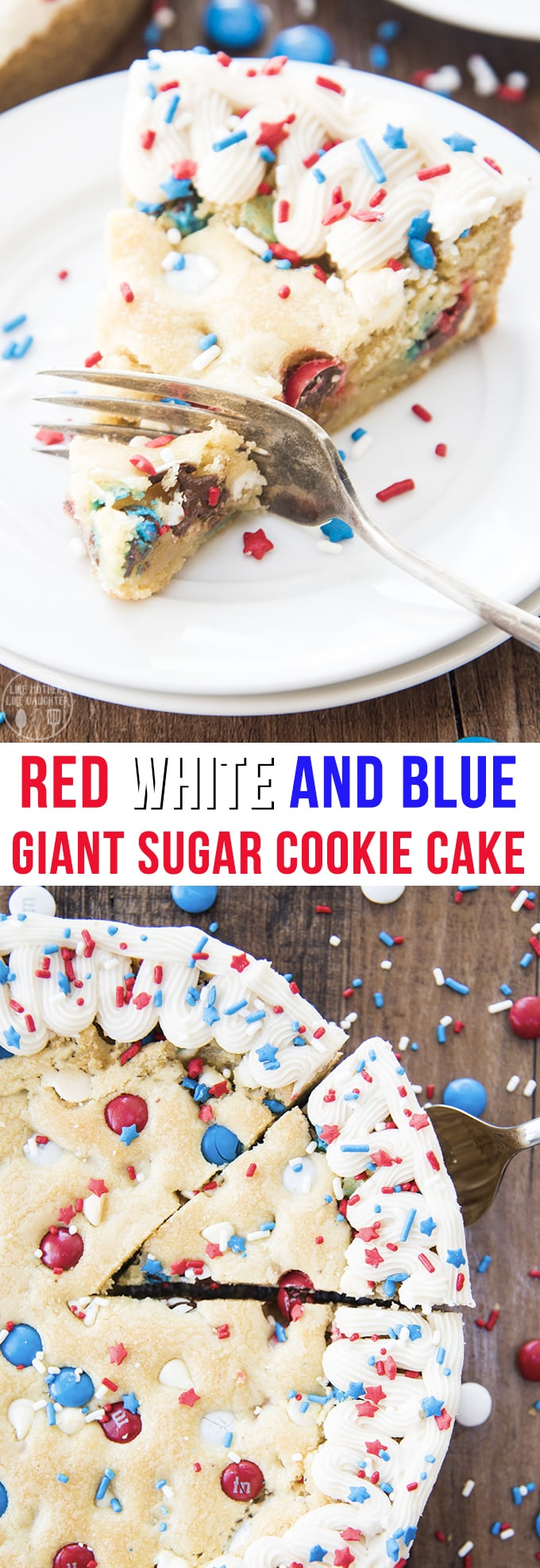 This giant sugar cookie cake is a perfect red white and blue, patriotic dessert for Memorial Day or the 4th of July! Its loaded with red, white, and blue m&ms and white chocolate chips and topped with a simple buttercream and fun sprinkles for the perfect summer dessert!