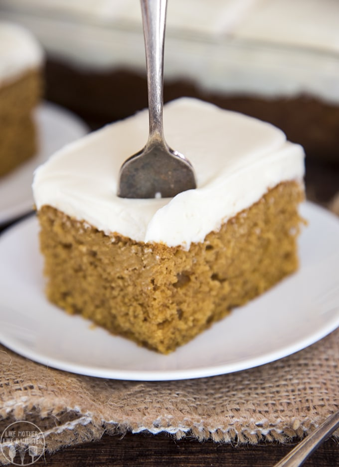 easy pumpkin cake is made with only a few ingredients and whips together in just minutes for the perfect fall dessert.
