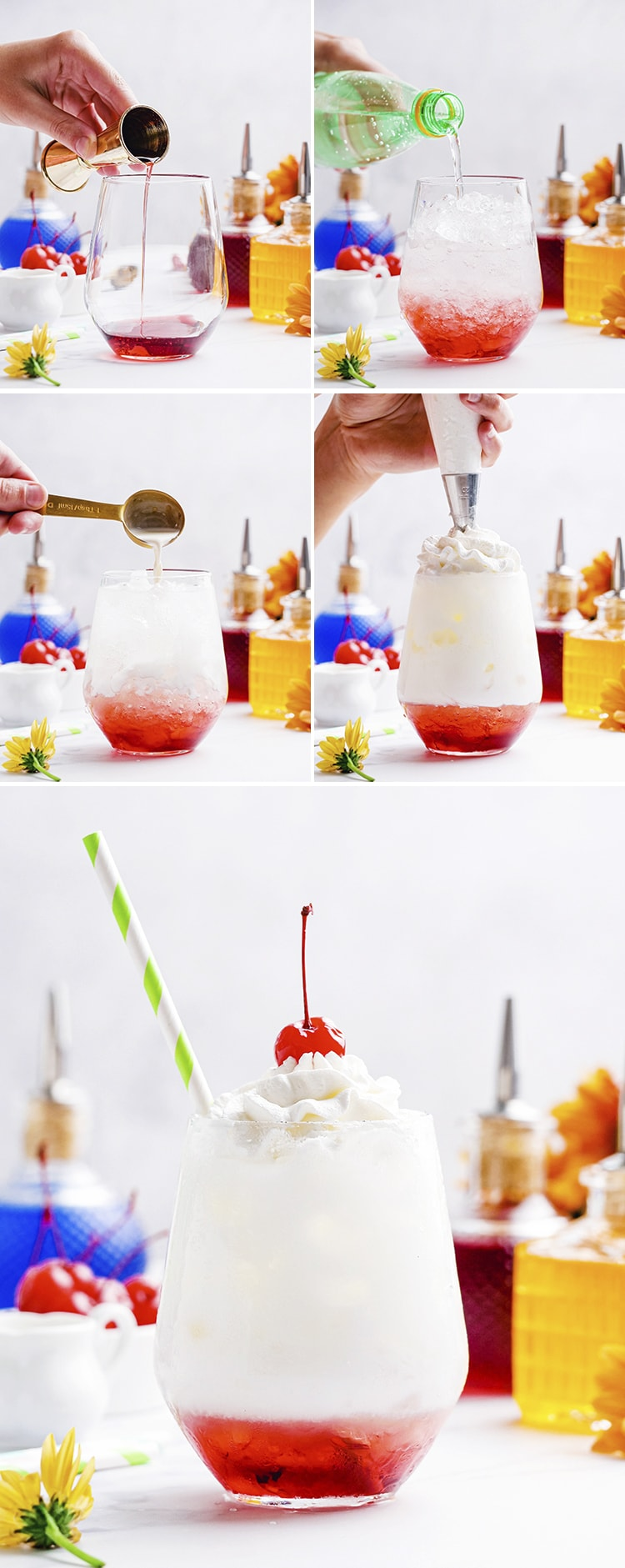 Step by step photos adding each of the four ingredients of Italian sodas. First adding a flavored red syrup, then adding club soda, then adding half and half then topping it with whipped cream. The final photo is a finished Italian soda with a maraschino cherry on top.