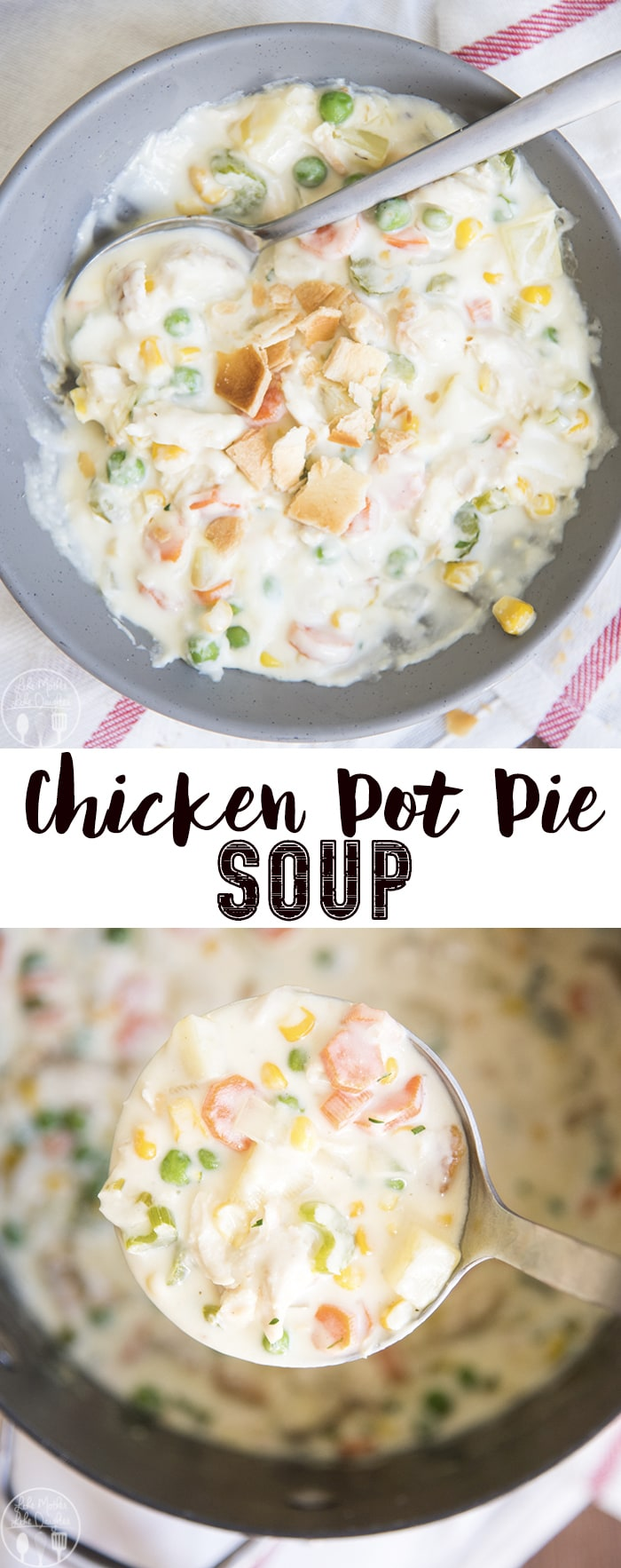 This chicken pot pie soup is an easy, creamy, and rich soup that is bursting with flavor! Its packed full of vegetables, and shredded chicken, and all topped with pie crust pieces for the perfect twist on the comforting classic dish!