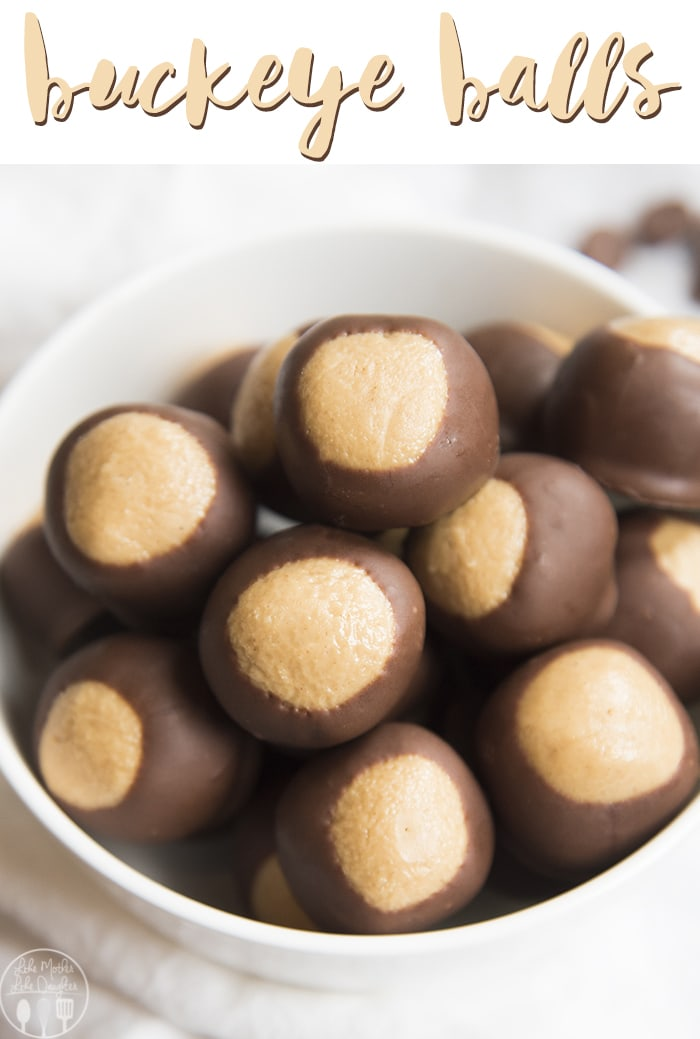 Buckeye Balls are the classic delicious Homemade Peanut Butter Balls dipped in chocolate to resemble the Buckeye Nut, for the perfect easy, no bake dessert!