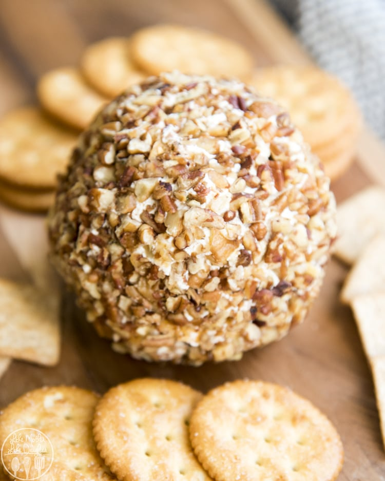 A classic cheese ball coated in chopped nuts and is a perfect appetizer with crackers!