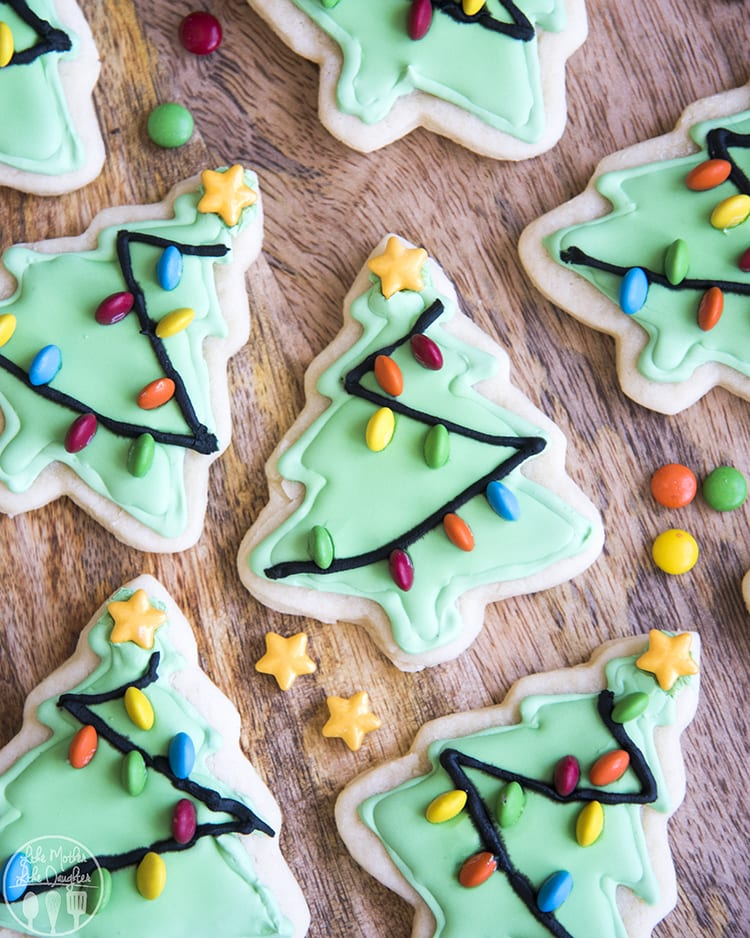 Christmas Tree Sugar Cookies with m&m lights