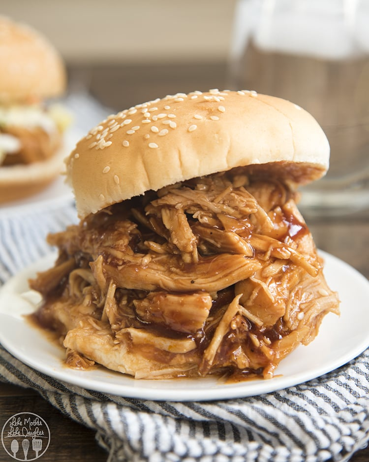 This bbq pulled chicken slow cooker is the best weeknight dinner!