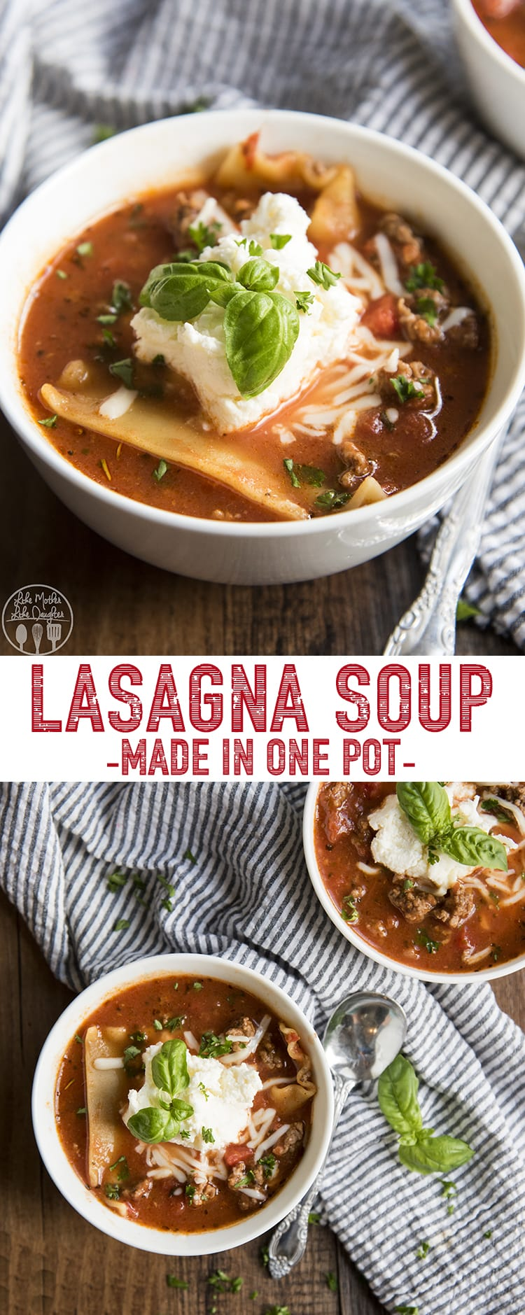 This lasagna soup is the perfect way to get the flavors of lasagna in a delicious bowl of hot, comforting soup! It's made in one pot and stuffed full of delicious Italian flavors, seasoned beef, tomatoes, and lots of cheese - just like your favorite layered lasagna. #Lasagna #LasagnaSoup #Soup #OnePot #GroundBeef #30minutedinner #homecooking #dinnerrecipe #easyrecipe #easydinner