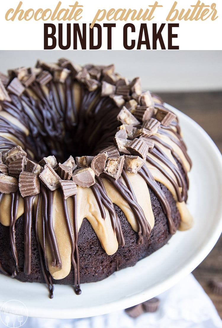 This Chocolate peanut butter bundt cake is the perfect cake for peanut butter cup lovers. It's a delicious cake made with chocolate and peanut butter batters, and topped with a peanut butter, and chocolate ganache. #chocolatepeanutbutter #peanutbuttercup #cake #bundtcake #cakerecipe