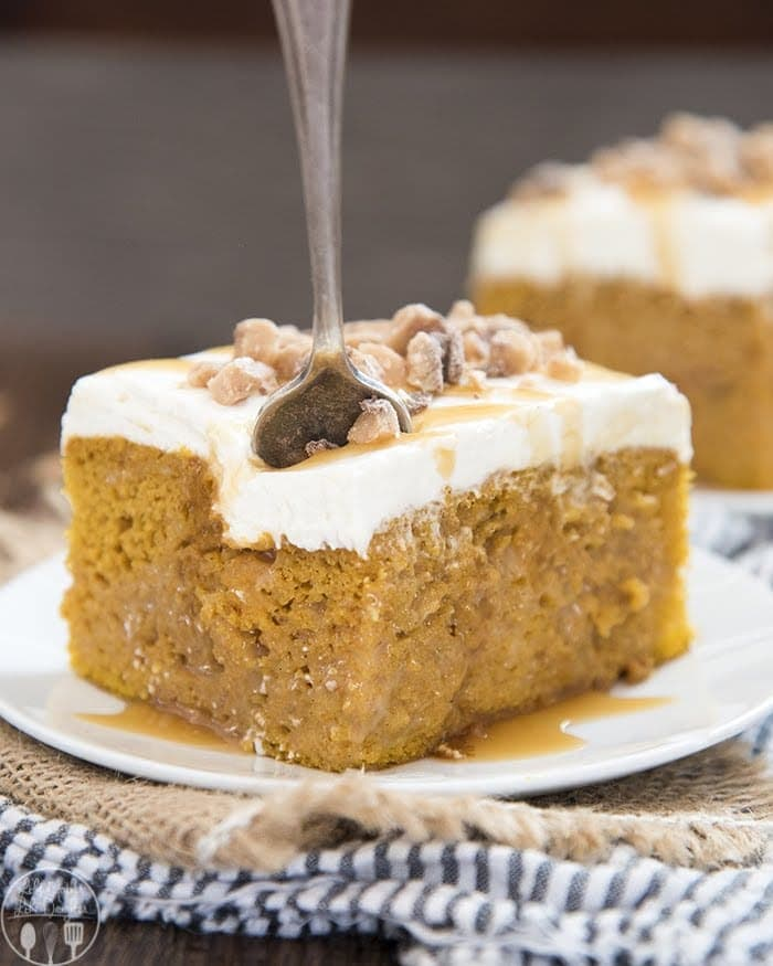 This rich pumpkin poke cake starts with a doctored up cake mix, for a moist cake filled with caramel, topped with the best cream cheese frosting and a crunch topping. It's a perfect better than sex pumpkin cake, that's delicious to eat all autumn long.