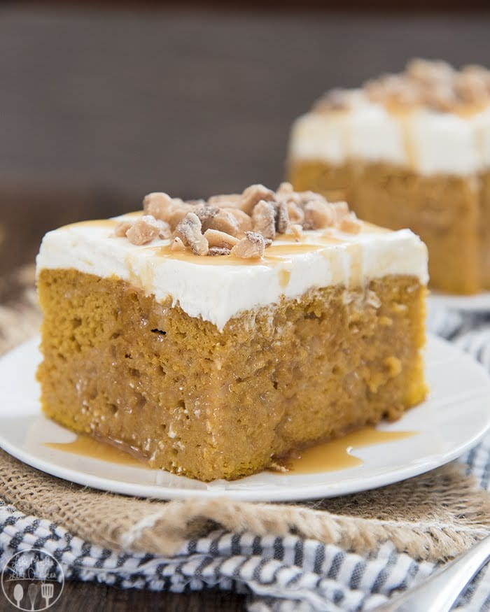 The best pumpkin poke cake is so moist and a perfect fall dessert!