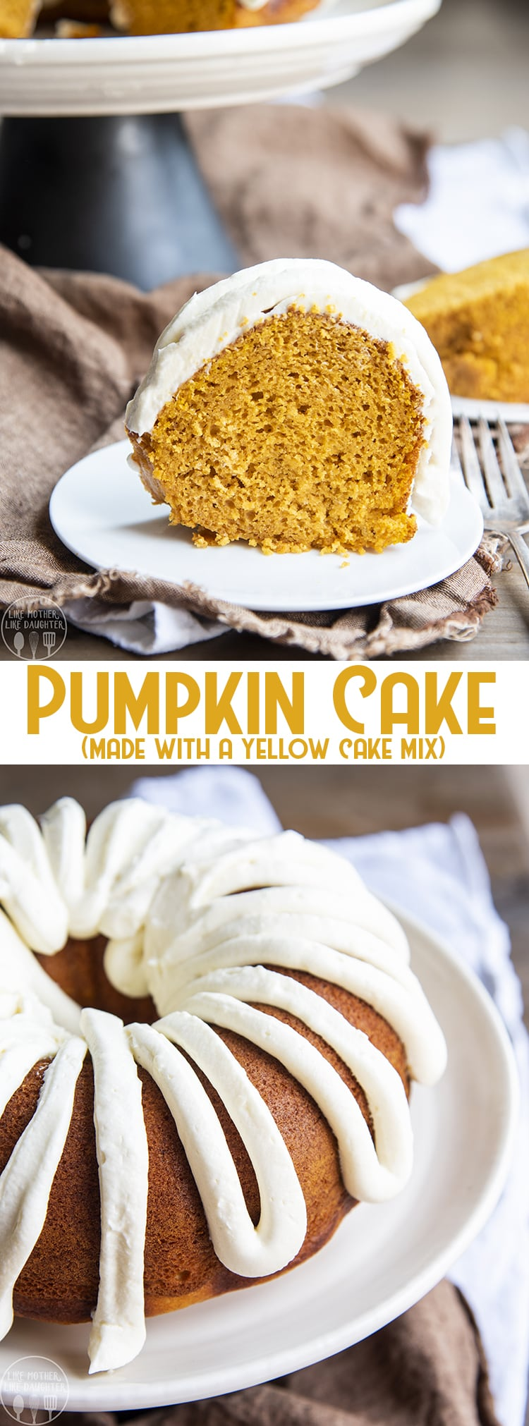 This pumpkin cake with a cake mix is the easiest way to make a pumpkin cake starting with a yellow cake mix! It's great baked as a 9x13 pan, 10 inch bunt, or round cake. Top it with your favorite cream cheese frosting and you've got a killer pumpkin dessert!