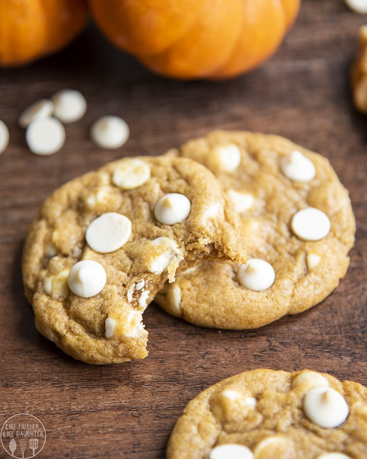 Chewy Pumpkin White Chocolate Chip Cookies are chewy with crispy edges, not cakey cookies.