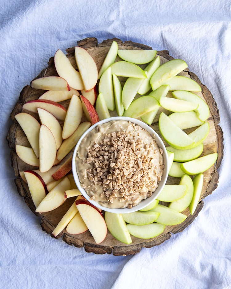 Toffee Dip is only 3 ingredients and perfect with red and green apples
