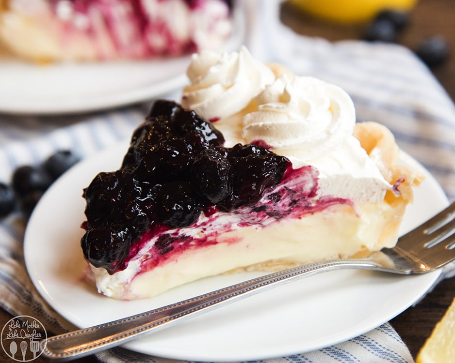 Blueberry Sauce topped Lemon Sour Cream Pie