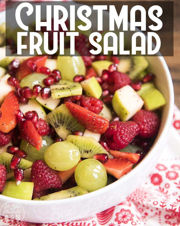 This Christmas Fruit salad is the perfect combination of red and green fruits, and is perfect for a Christmas dinner or holiday party!