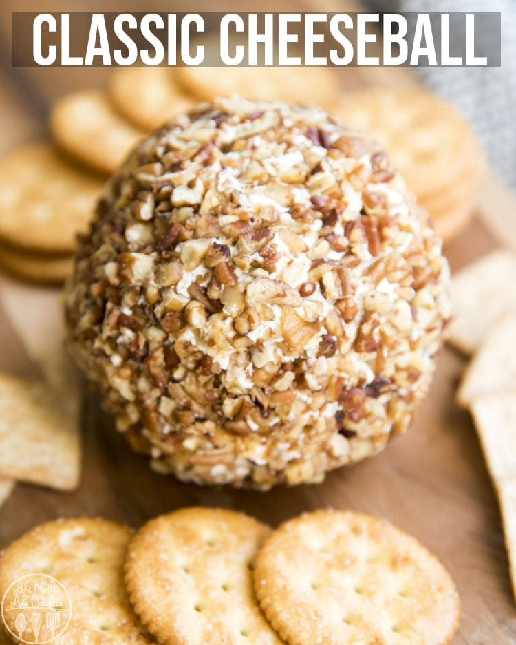 This classic cheese ball is the perfect appetizer for the holidays! It's packed full of flavor and perfect served with your favorite crackers or sliced vegetables.