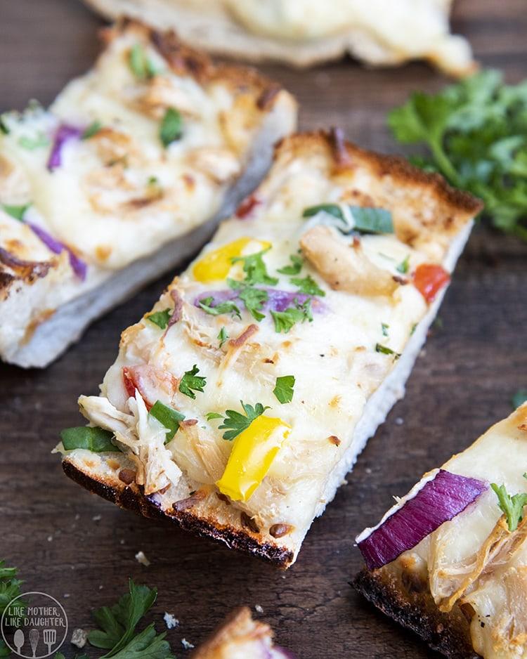 Chicken Alfredo French Bread Pizza