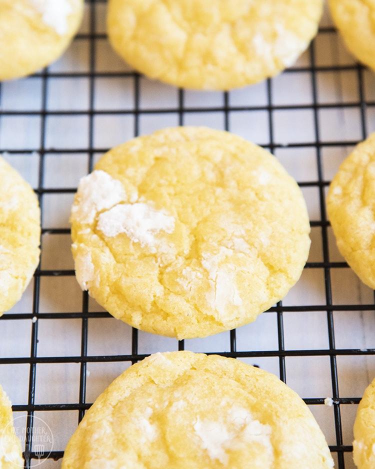 Lemon Crinkle Cookies covered in powdered sugar