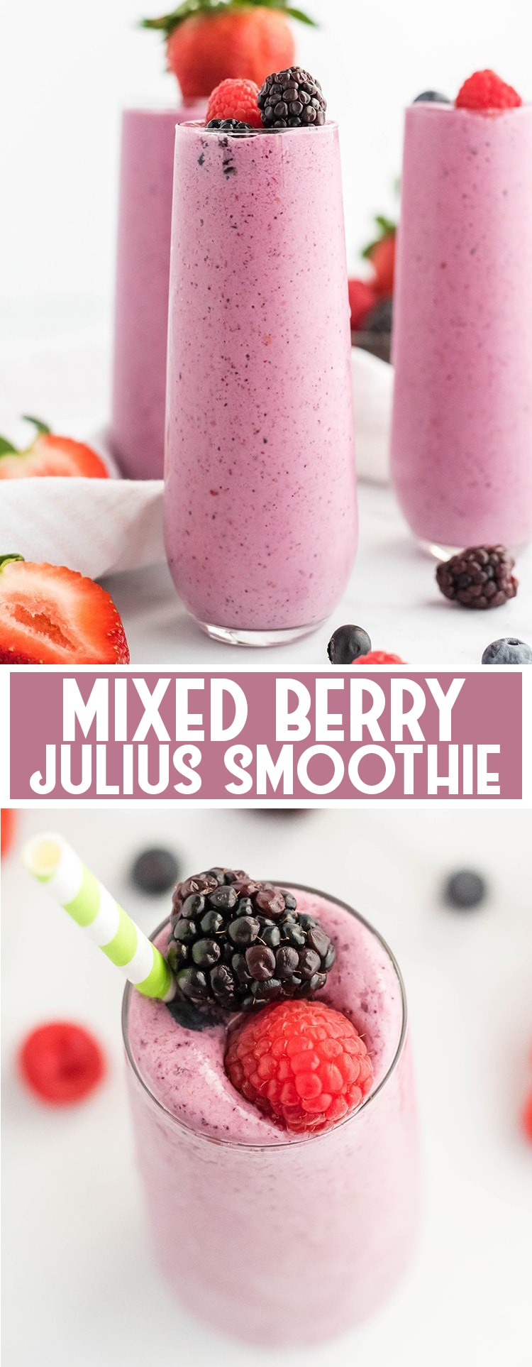 This mixed berry julius is a creamy, icy vanilla and triple berry smoothie. It's so refreshing and perfect for breakfast or a snack!