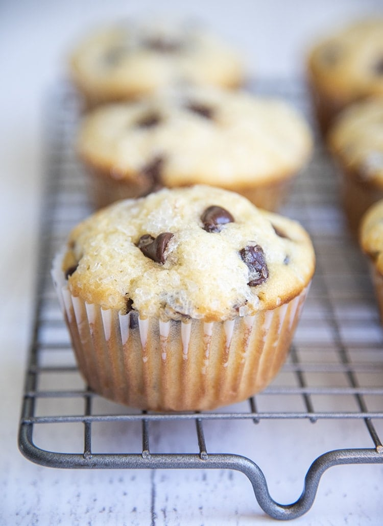 Bakery Style Chocolate Chip Muffins with coarse sugar on top
