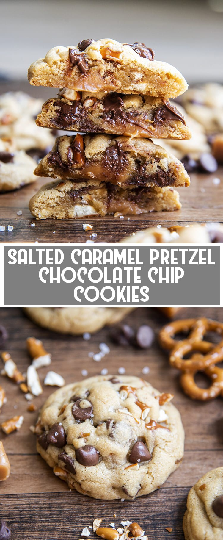 The Inside of a salted caramel pretzel chocolate chip cookie with caramel in the middle with text overlay for pinterest
