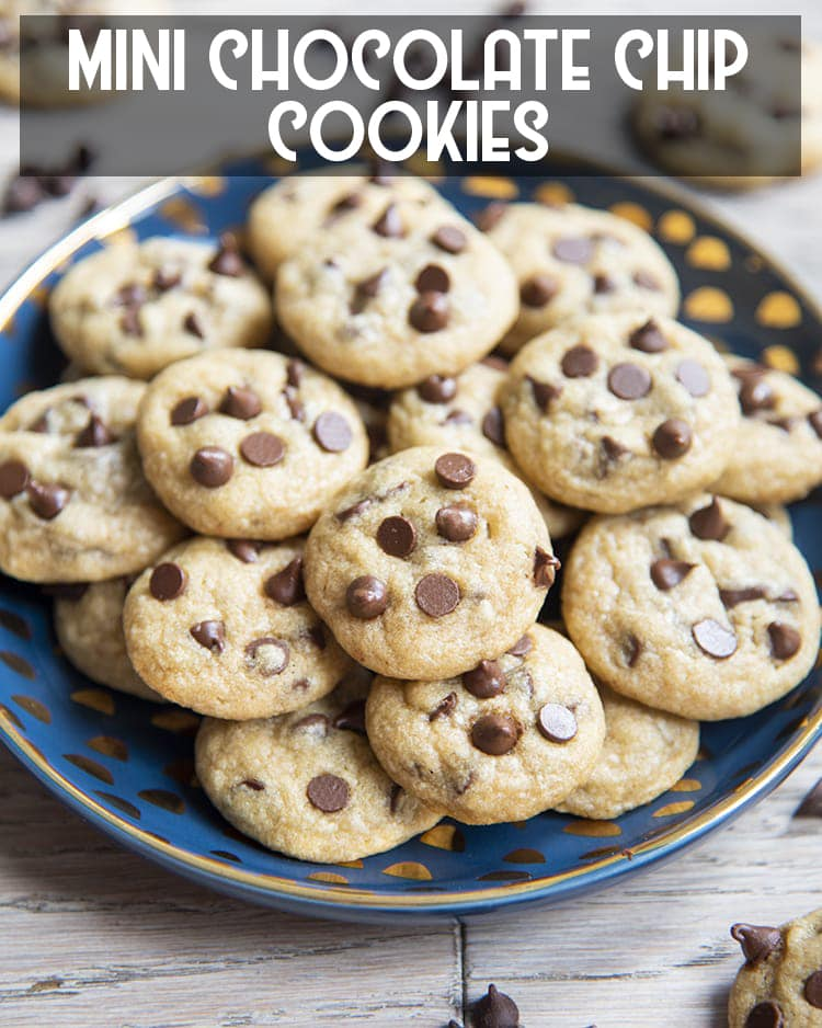 Mini Chocolate Chip Cookies on a plate with text overlay for pinterest