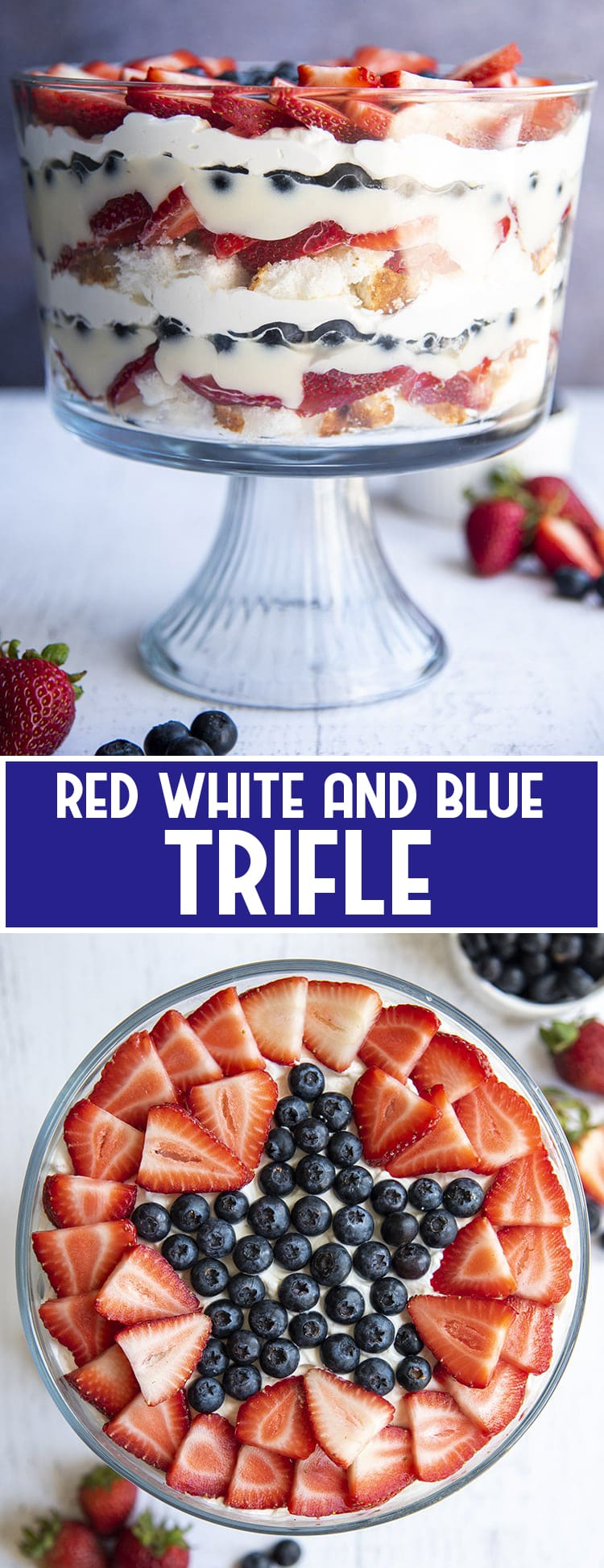 Fruit Trifle with layers of angel food cake, strawberries, blueberries, pudding, and whipped cream, with a star out of blueberries on top, made into a collage of two photos with text overlay