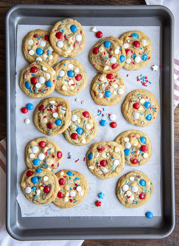 Fourth of July Cookies on a baking sheet