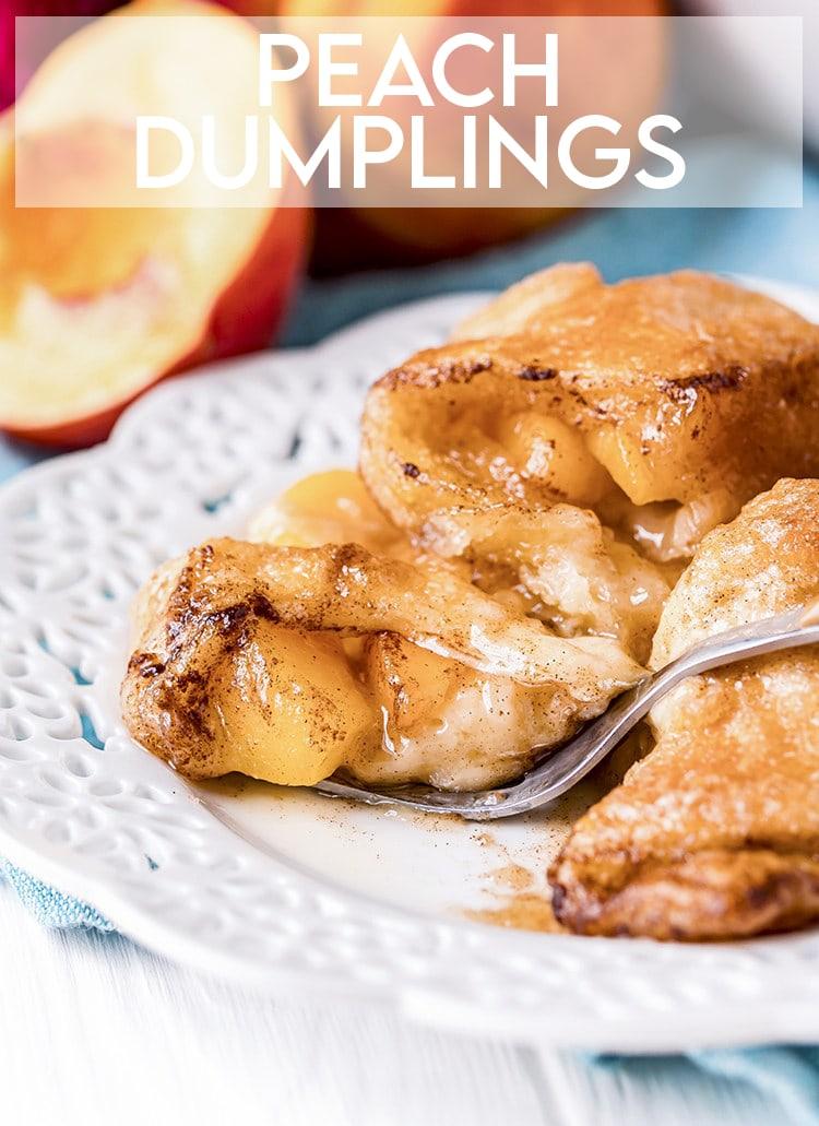 Peach dumplings with text overlay for pinterest