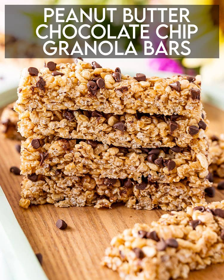 A stack of peanut butter chocolate chip granola bars with text overlay for pinterest.