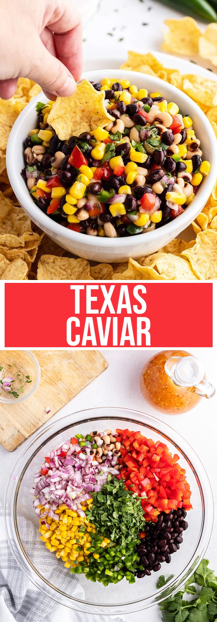 A collage of two photos of Cowboy Caviar. The first is a photo of the chip dip with a chip dipping into the bowl. The second is a bowl of the ingredients, red onion, bell pepper, black beans, corn, and cilantro.