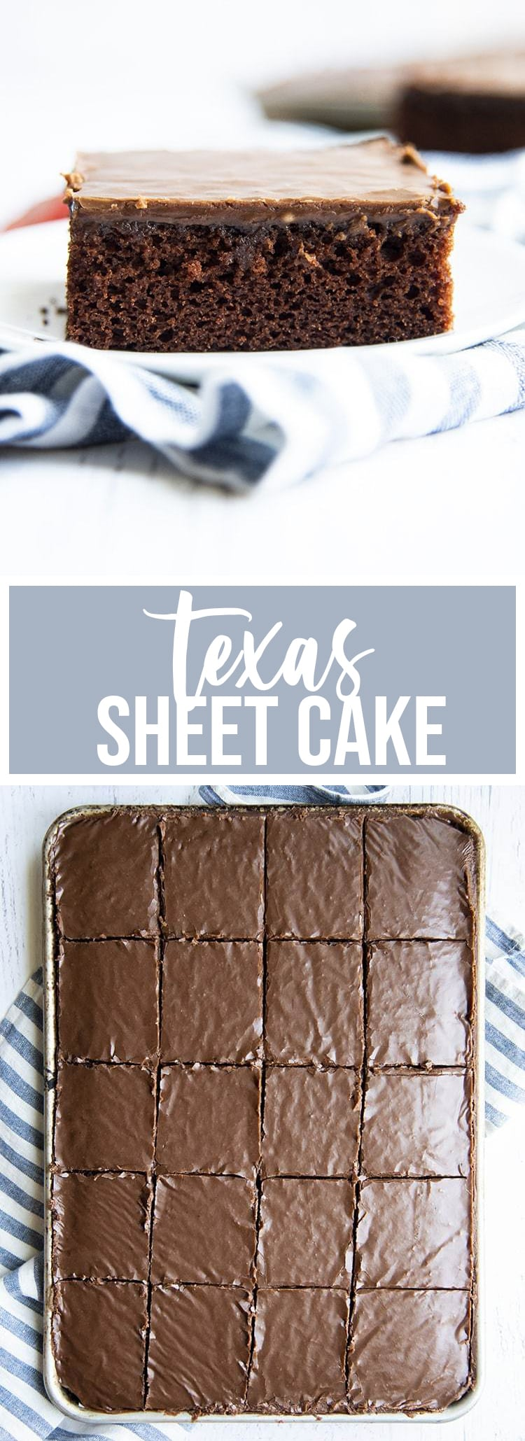 A collage of two photos of Texas sheet cake. The first is a slice of Texas Sheet Cake on a plate. The second is a pan of Texas sheet cake cut into slices.