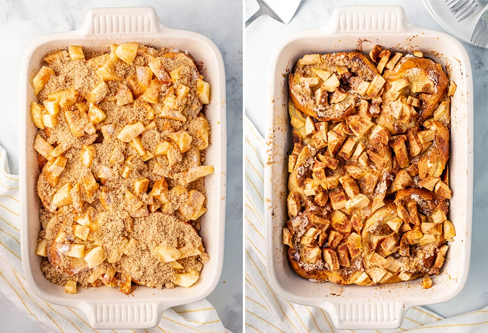 A collage of an uncooked and cooked pan of baked apple french toast.
