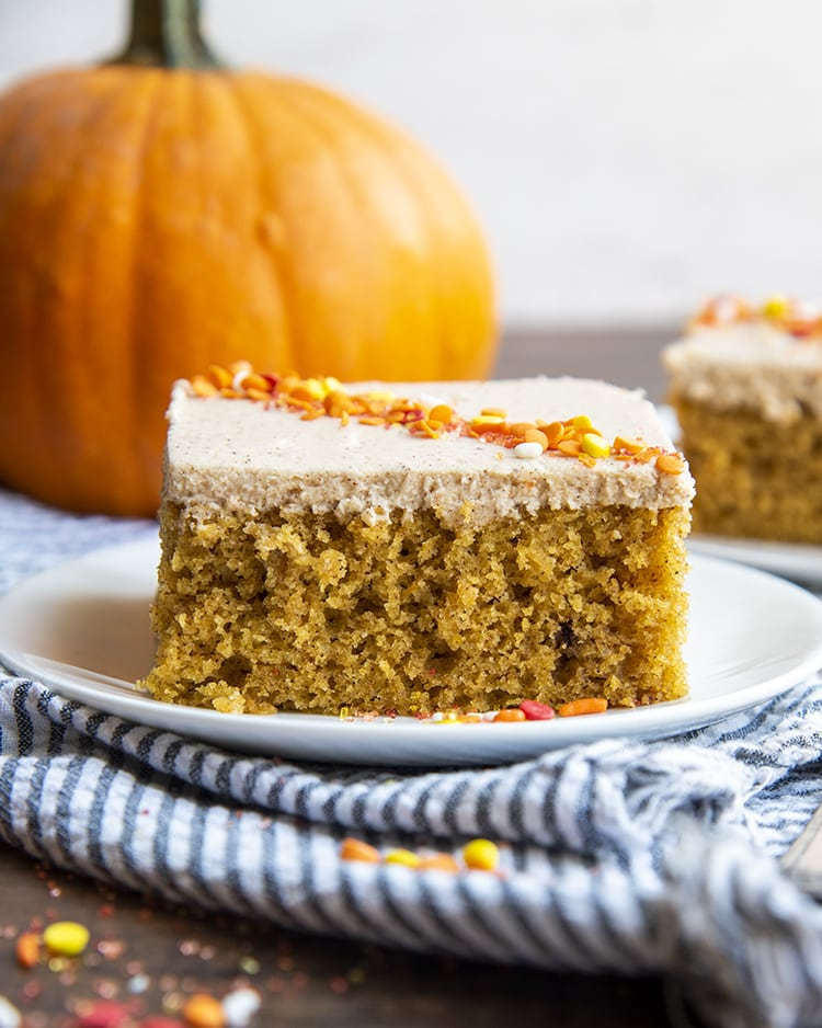 A pumpkin bar on a white plate, topped with brown butter cream cheese frosting.