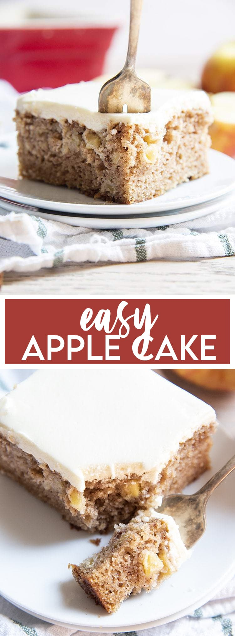 Twp photos of apple cake on a white plate with text overlay for pinterest.