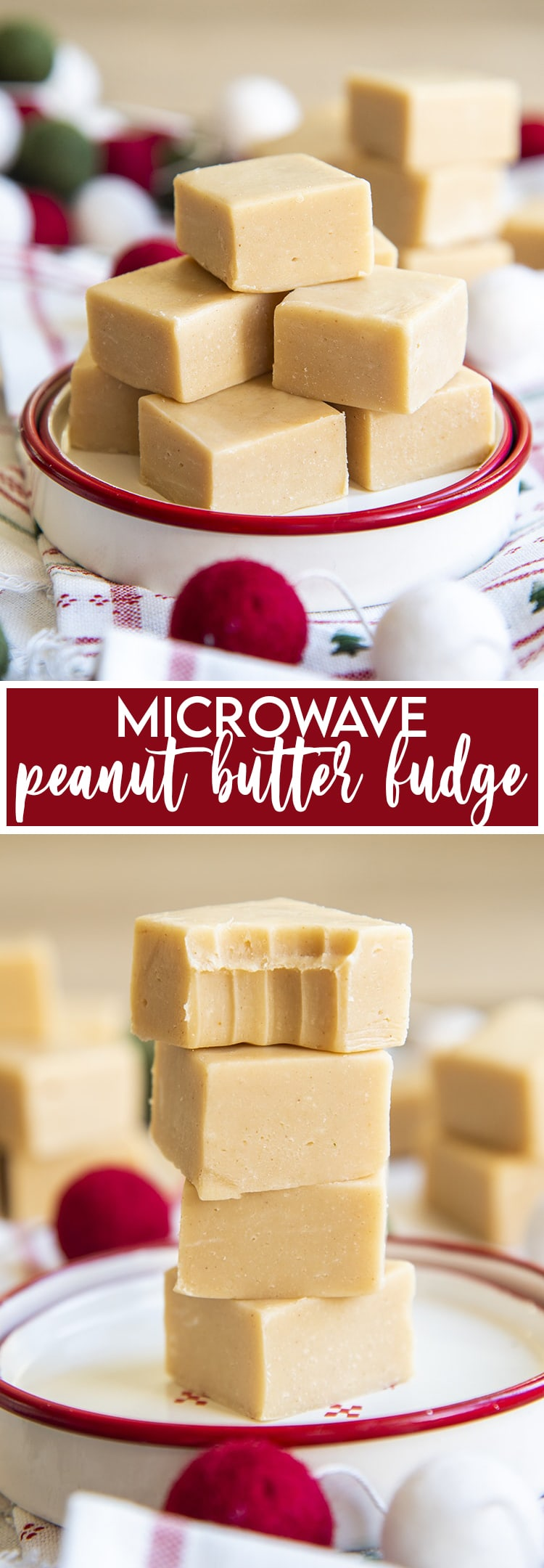 A small plate of peanut butter fudge piled together, then a text overlay underneath that says microwave peanut butter fudge. Then a stack of 4 pieces of peanut butter fudge, with the top piece having a bite out of it.
