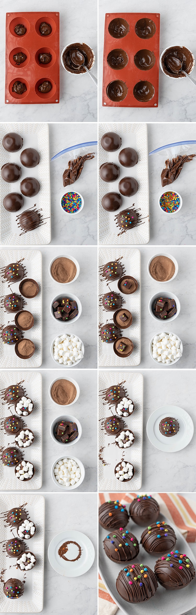 10 Step by step photos on how to make cosmic brownie hot chocolate bombs. Showing the chocolate being coated in the silicone molds. Then chocolate being drizzled on the top, and chocolate rainbow chips are placed on top. Then the bottom half is filled with cocoa, a cosmic brownie piece, and mini marshmallows. Then the top piece is melted on the edges on a warm plate and placed on top to help them seal. The last photo is the 6 finished hot cocoa bombs on a plate.