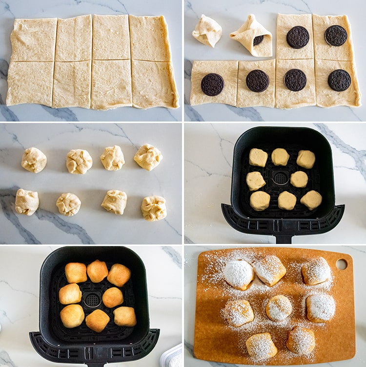 Six step by step photos showing how to make air fried Oreos.