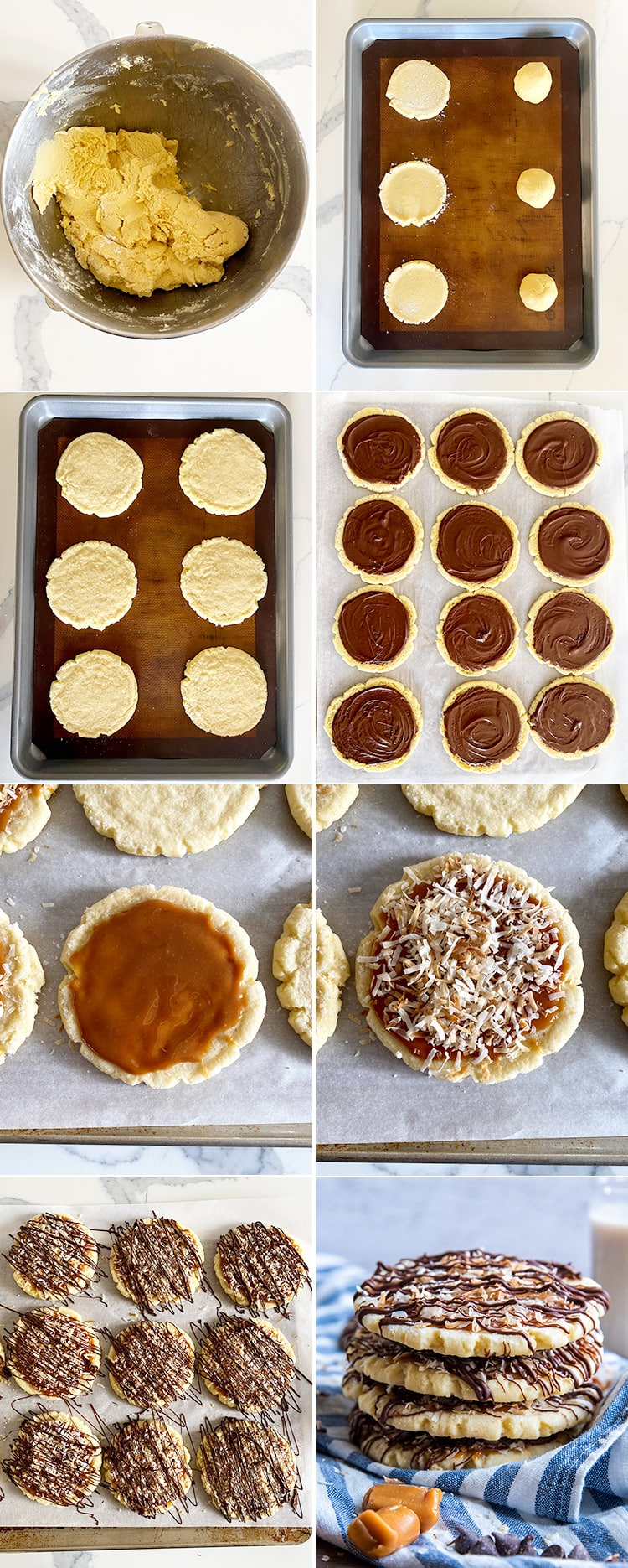 A collage of 8 photos showing how to make samoa sugar cookies. 1) The cookie dough 2) The cookie dough on the tray, then being pressed down 3) The baked cookies 4) The bottom of the cookies with chocolate on them 5) The top of the cookies with caramel on them 6) The caramel topped with coconut 7) The cookies drizzled with chocolate 8) The cookies in a stack in a posed photo.