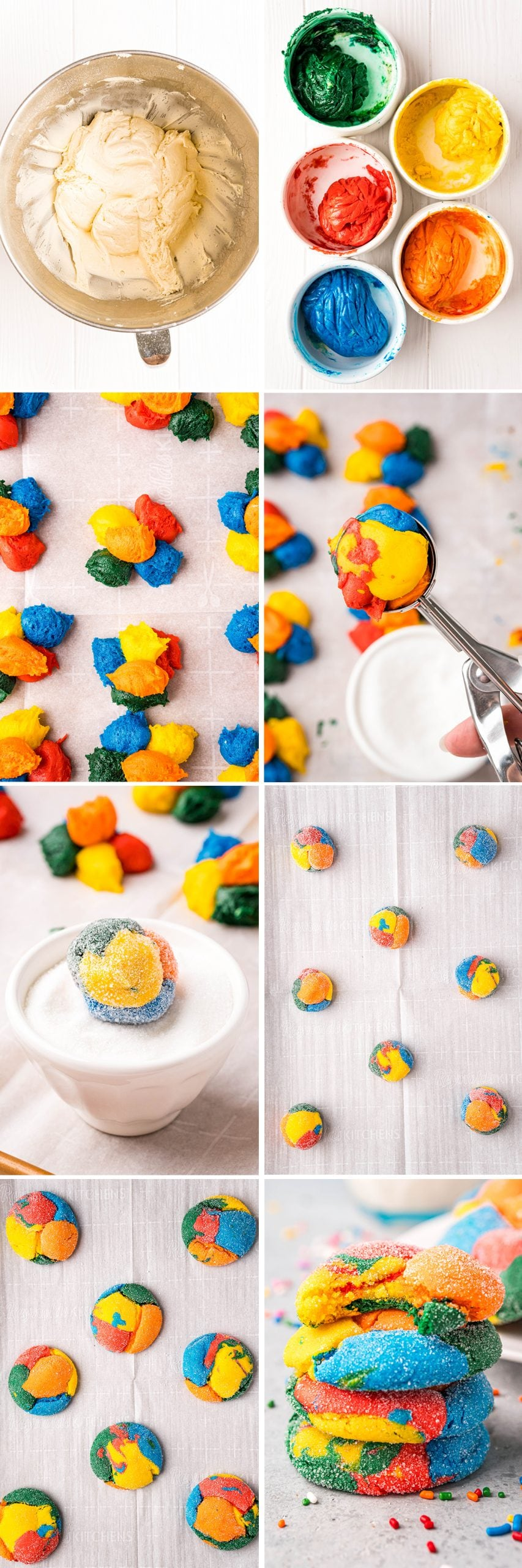 A collage of 8 step by step photos showing how to make rainbow cake mix cookies. Showing the dough in a bowl, then separated into colors, then dolloped into a pile, then rolled into balls, then rolled into sugar, placed on a baking sheet, then baked.