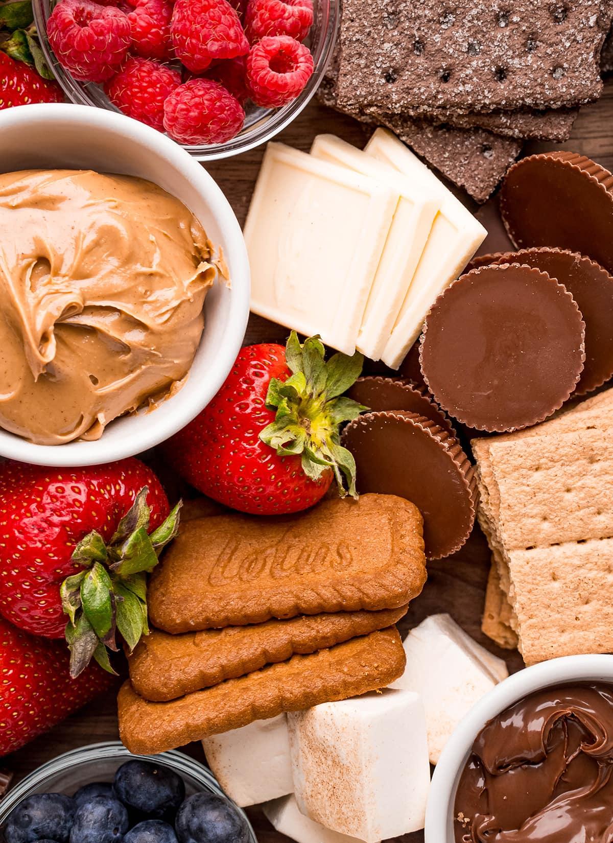A close up of ingredients needed for a s'mores charcuterie board.