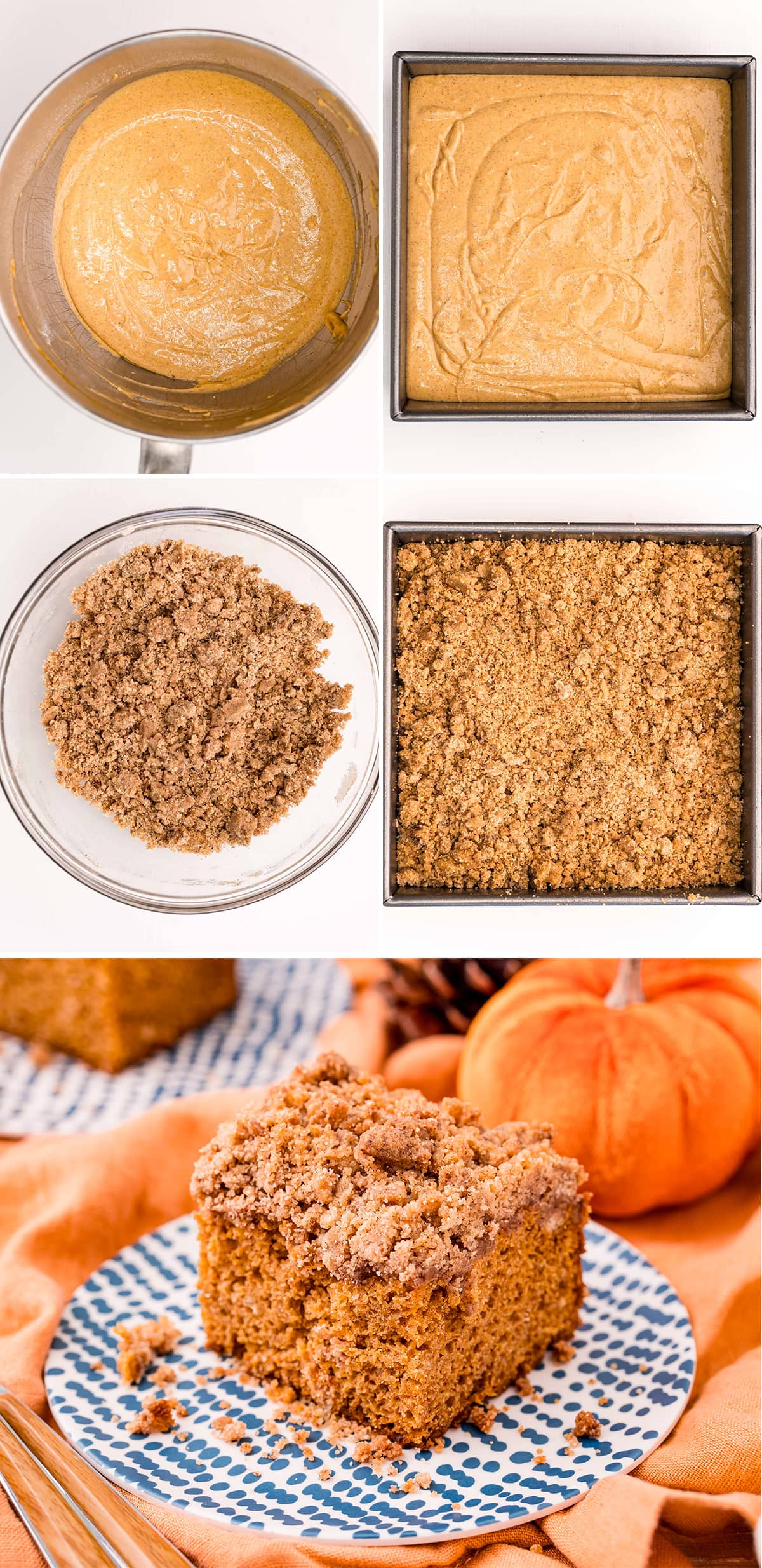 A collage of step by step photos showing how to make a pumpkin coffee cake.