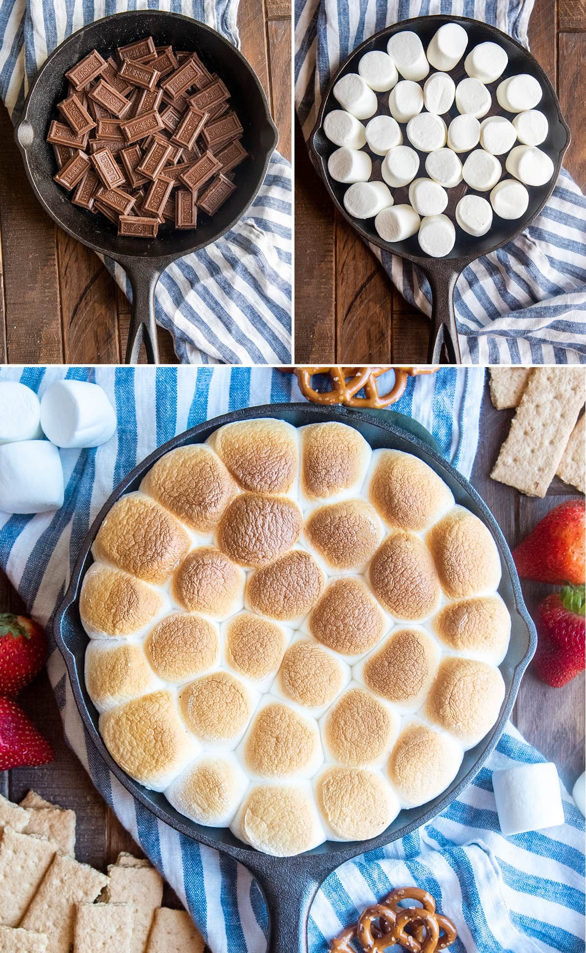 A collage of photos showing how to make a s'mores dip.