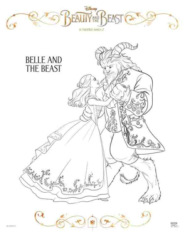 beauty and the beast coloring page # 13