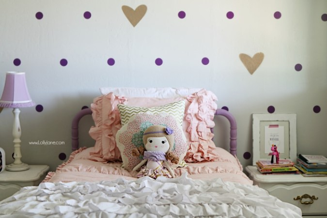 little girl purple gold bedroom makeover   Lolly Jane little girl purple gold bedroom makeover