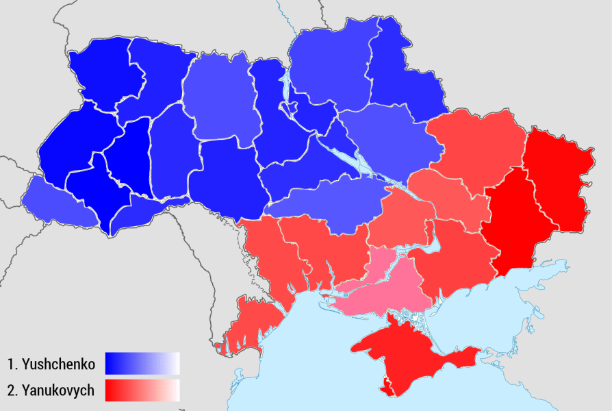 Mapping the Ukrainian Presidential Elections 2004 and 2010   look     Ukrainian Presidential Election 2004  CC BY SA 3 0  lookeastwards