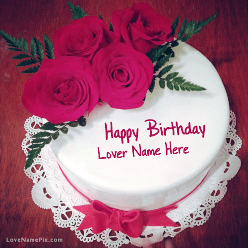 Roses Birthday Cake For Lover With Name