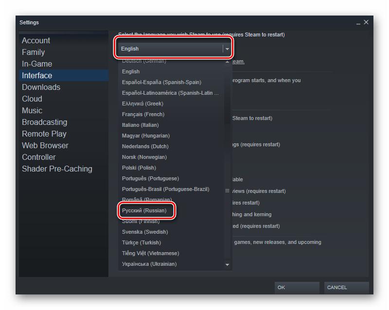 تنظیمات زبان برنامه در بازی ها