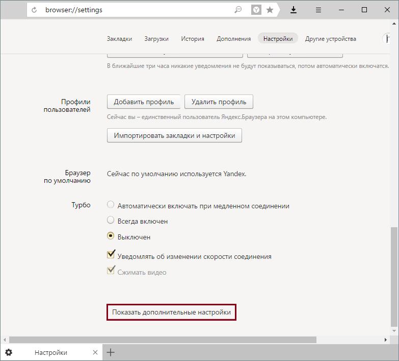 Yandex.Browser-де қосымша параметрлер