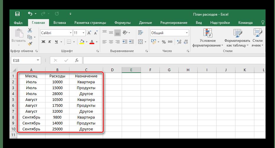 Mesa en Microsoft Excel